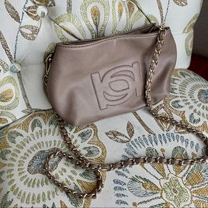 Bebe Vegan Leather Taupe Beige Small Crossbody Bag